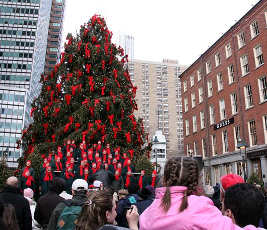 サウス・ストリート・シーポートの歌うクリスマス・ツリー 2010_b0007805_916596.jpg