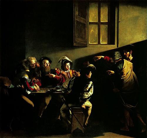カラヴァッジョ「聖マタイの招命」~ローマ サンルイージ・ディ・フランチェージ教会_f0106597_1103529.jpg