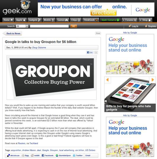 地域密着で大ブレーク中のグルーポン(Groupon)をGoogleが買収か?_b0007805_10142036.jpg