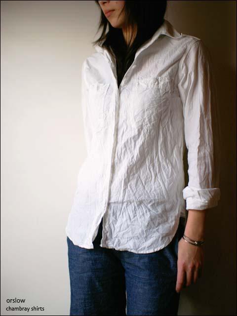 orslow [オアスロウ] chambray shirts [シャンブレーシャツ] Lady\'s WHITE ホワイト 白_f0051306_20504647.jpg