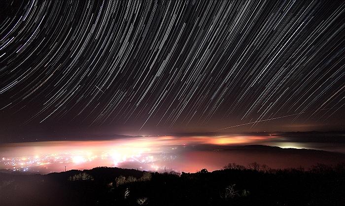"""三次高谷山 """"夜 景と雲 海と 星""""コンポジ編_a0140608_756148.jpg"""