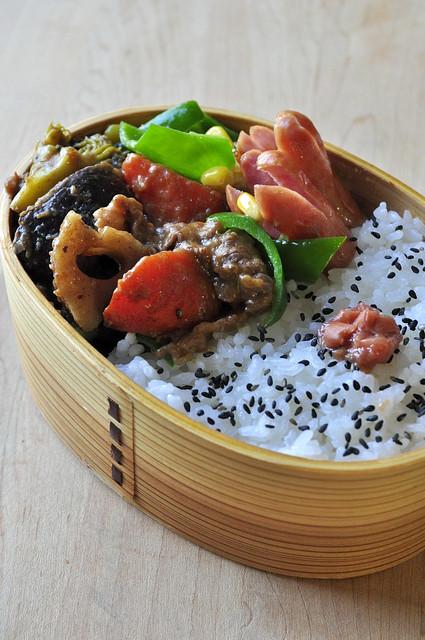 根菜のデミソース煮込みのお弁当_b0171098_7264050.jpg