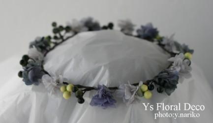 ブルーの花冠とリストレット プリザーブドフラワー_b0113510_2337529.jpg