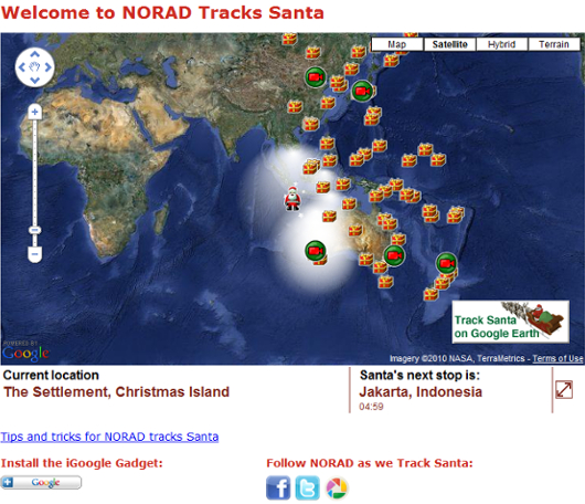 ただ今、世界中を巡るサンタさんをネット中継中!Tracks Santa2010_b0007805_19716.jpg