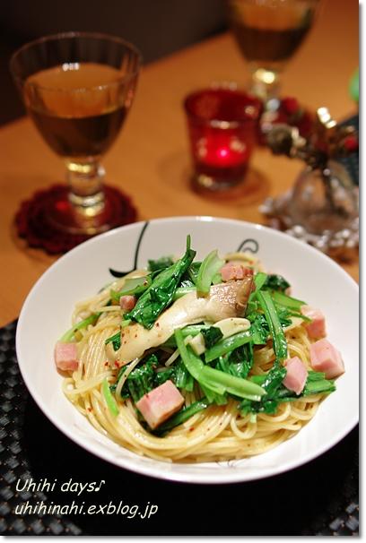 小松菜とベーコンのピリ辛パスタ_f0179404_2094163.jpg