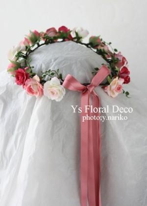 ピンク色のアクセサリーでお色直し 花冠とリストレット_b0113510_193820.jpg