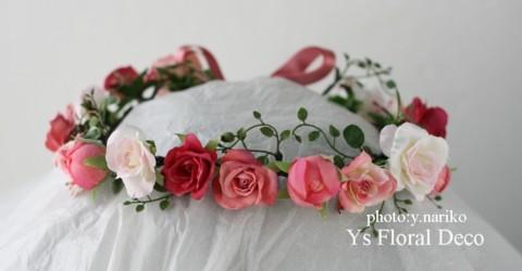 ピンク色のアクセサリーでお色直し 花冠とリストレット_b0113510_194626.jpg