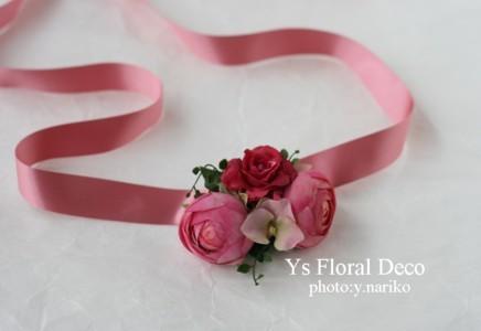 ピンク色のアクセサリーでお色直し 花冠とリストレット_b0113510_195419.jpg