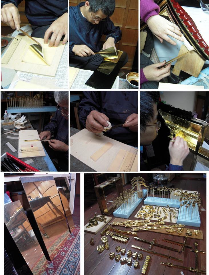 林幽寺のお厨子の修理 その18 金箔押し 2010.12.27_c0213599_0551333.jpg