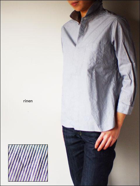 RINEN [リネン] 40/1 オーガニックブロード ストライプ 比翼7分袖 レギュラーカラーシャツ [37119] LADY\'S _f0051306_1832257.jpg