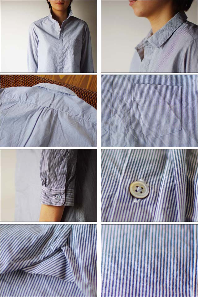 RINEN [リネン] 40/1 オーガニックブロード ストライプ 比翼7分袖 レギュラーカラーシャツ [37119] LADY\'S _f0051306_1832362.jpg