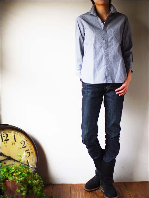 RINEN [リネン] 40/1 オーガニックブロード ストライプ 比翼7分袖 レギュラーカラーシャツ [37119] LADY\'S _f0051306_18323834.jpg