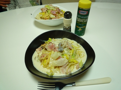 おうちご飯 白菜とベーコンのクリームパスタ~♪_e0123286_19283673.jpg