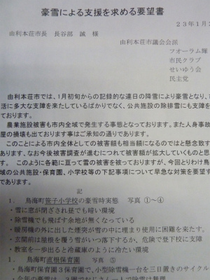 豪雪支援の要望書を市長に_b0084826_10472267.jpg