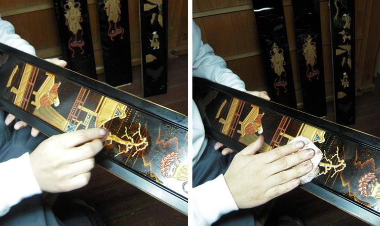 仏壇蒔絵6 金粉みがき 2011.01.27_c0213599_2324846.jpg