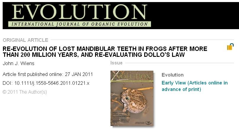 2億3千万年前に退化したカエルの下顎歯が2千万年前に再進化_c0025115_18591468.jpg