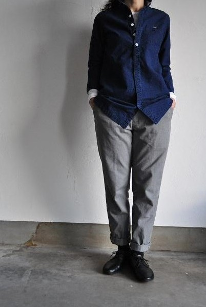 NATIC/ナティック インディゴ刺子ドットシャツ