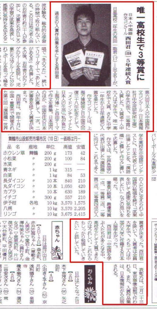 日本人の中国語作文コンクール受賞者西田聡さん 地元の新聞に_d0027795_1911574.jpg