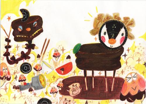 かいじゅうたちのいるチョコろ でこりんと羽田純の絵本展_b0151262_9463987.jpg