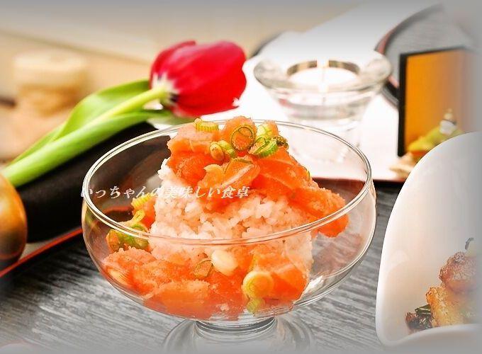 ひな祭りに♪鮭の明太ライスカクテル&豚のから揚げチリソース黒ゴマ炒め☆_d0104926_6505414.jpg