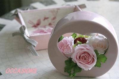 ピンク★「リボントレイ」と「プリザアレンジ」_e0158355_1031017.jpg