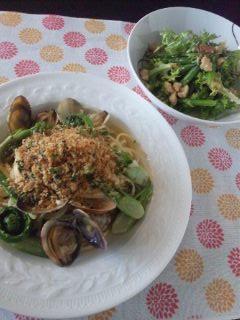 春野菜のボンゴレ ビアンコ_e0159969_18393742.jpg