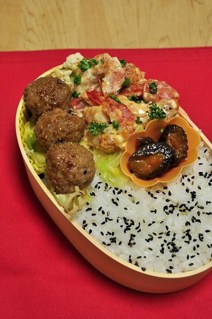 ルクエでエビマヨと肉団子のお弁当_b0171098_782652.jpg
