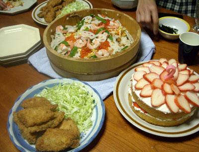孫のお誕生日の手作り料理 (ちらし寿司 シイラのフライ等)_e0097770_22191667.jpg