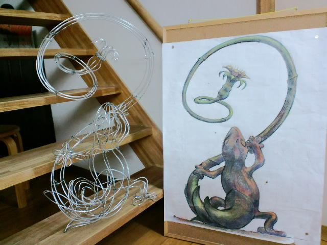 『トカゲのリノ』図面から針金模型、イメージ画まで_e0209927_2422664.jpg