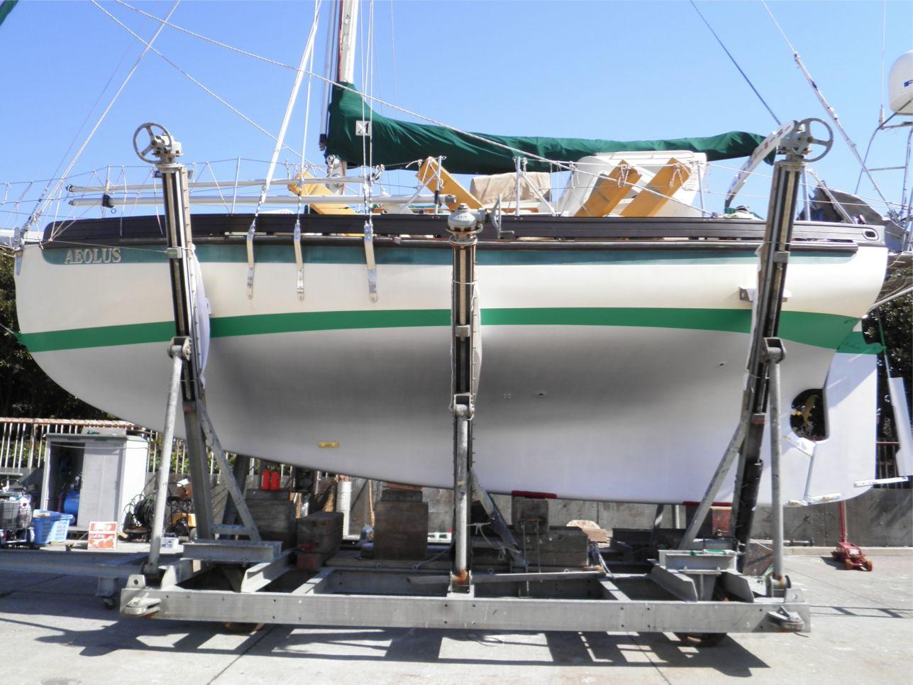 船底整備のすべて⑫ ハル上部(緑ライン) 船底塗料ニューマリンゴールド緑 塗装後_a0051924_22284540.jpg