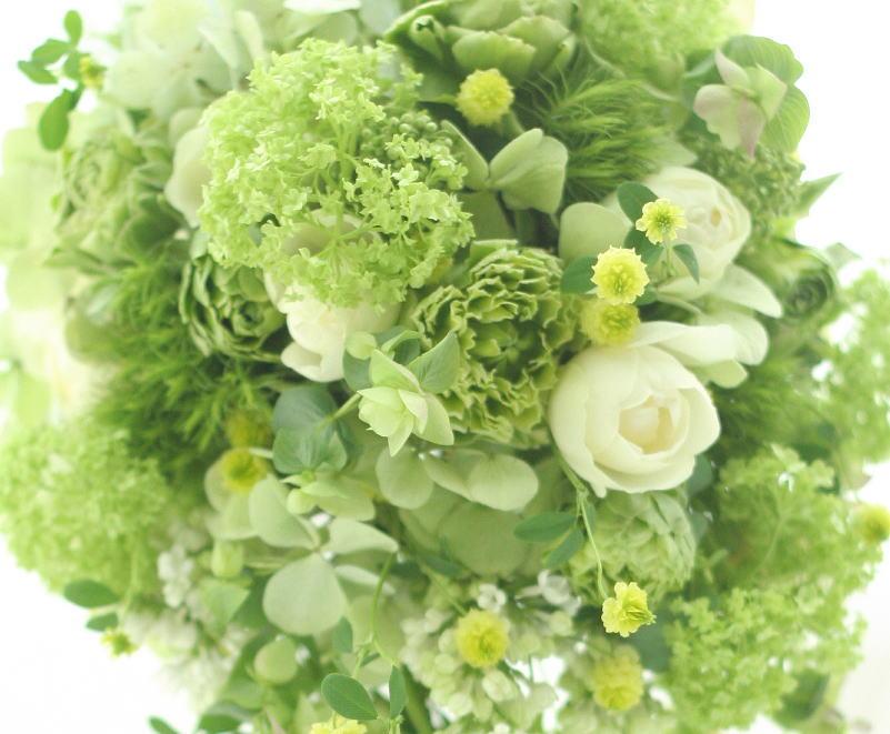 グリーンのセミキャスケードブーケ 緑の中に白 _a0042928_20392925.jpg