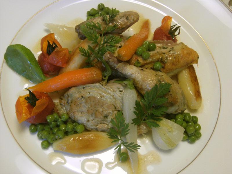 ハーブ風味のひな鶏のロティー新野菜添え、グランメールソース 心を空にする_d0109415_21553776.jpg