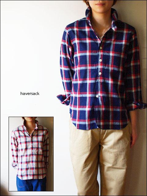 Haver Sack [ハバーサック] indigo check shirts リネンチェックシャツ [8211370] LADY\'S LADY\'S _f0051306_16395179.jpg