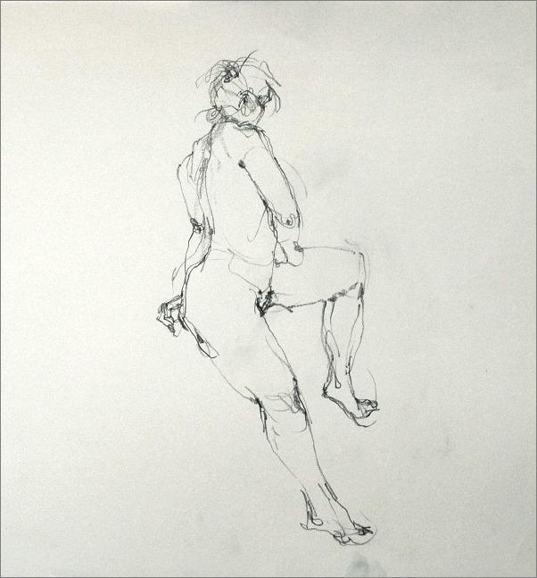 腰掛ける裸婦線描・鉛筆_f0159856_7135328.jpg