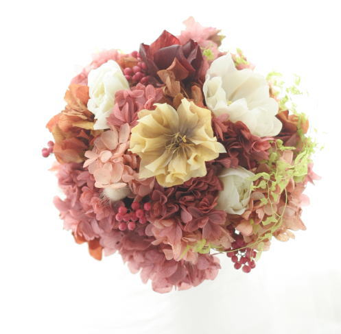 お色直しの花冠とミニブーケとリストレット クランベリーとベージュ _a0042928_9383114.jpg