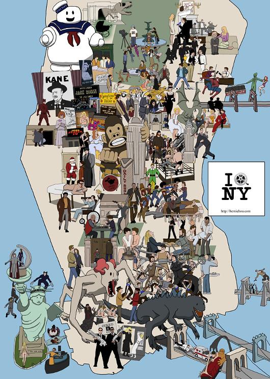 ニューヨークを舞台にした映画91本の名シーン付のマンハッタン地図_b0007805_2373445.jpg