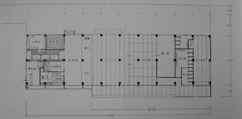 半世紀前の新築駅舎の平面図~『秋田鉄道管理局史』より_f0030574_2232119.jpg