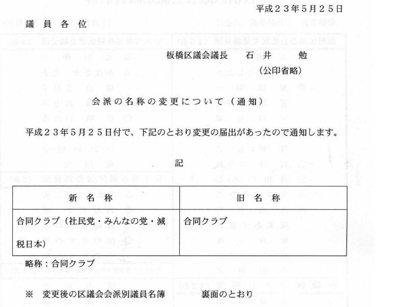 【板橋区議会】合同クラブが合同クラブ(社民・みんなの党・減税日本)に名称変更_d0046141_211610100.jpg