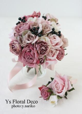 くすんだピンクのクラッチブーケ アーティフィシャルフラワー_b0113510_18465093.jpg