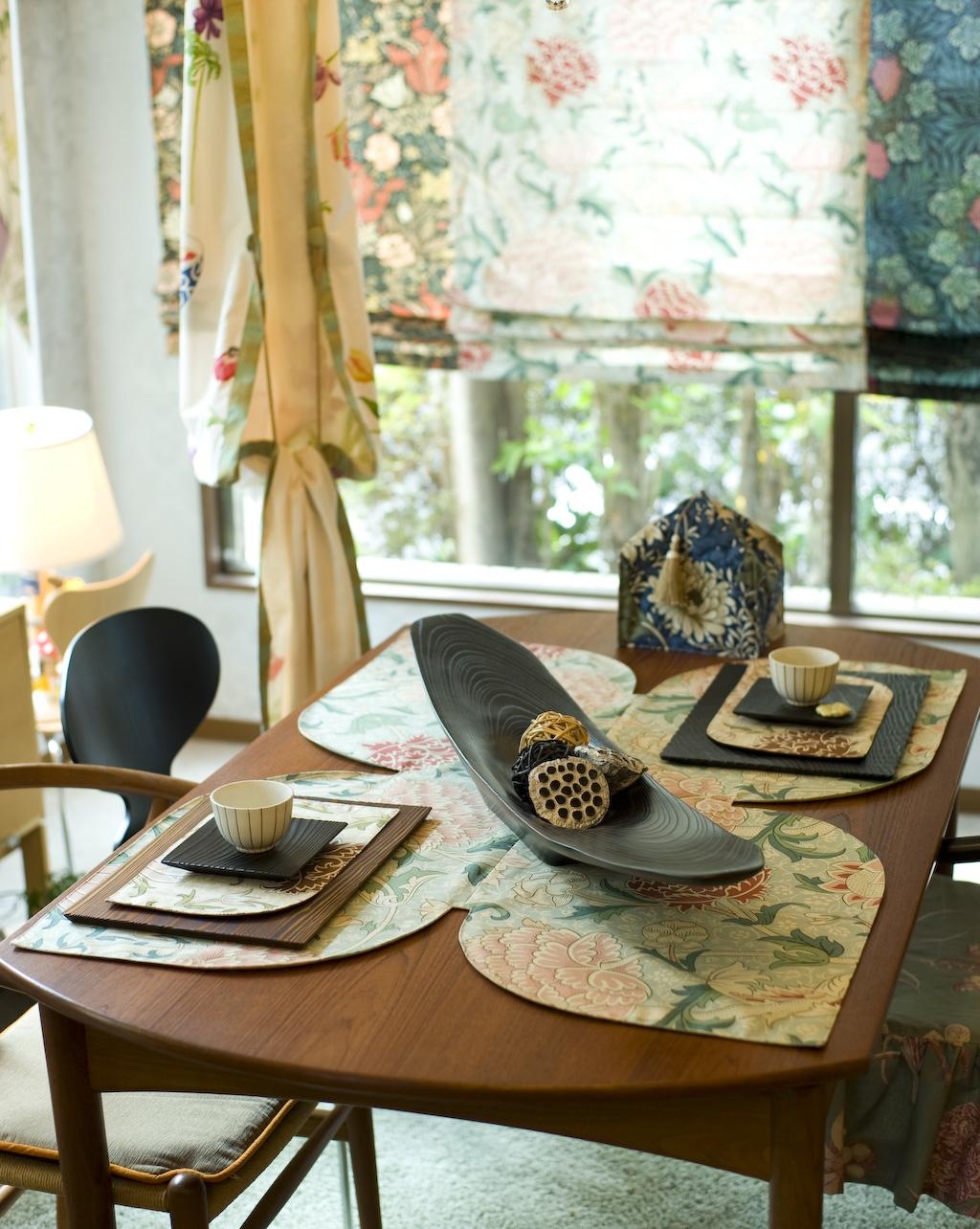 ウィリアム モリスの生地でテーブルクロスを作りました。_c0157866_17383796.jpg