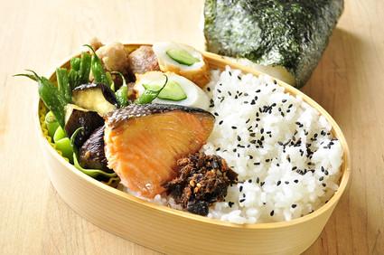 鮭と茄子とインゲンのお弁当_b0171098_8261670.jpg