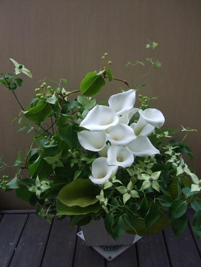 オークリーフ(一花とグリーンミックスのアレンジメント)_f0049672_17223687.jpg