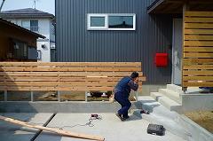 杉板の木製フェンス工事 ウッドフェンス_c0091593_22183438.jpg