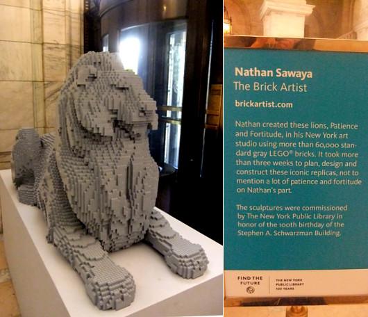 ニューヨーク市立図書館100周年で、レゴブロックのライオン像展示中_b0007805_2024466.jpg
