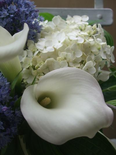 オークリーフ(青と白の花、そしてグリーンミックスのアレンジメント)_f0049672_165022.jpg