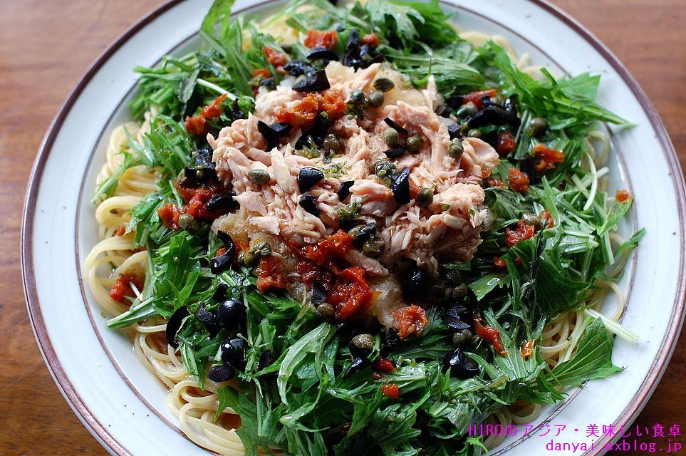 水菜とツナの和風パスタ_c0152520_14305858.jpg