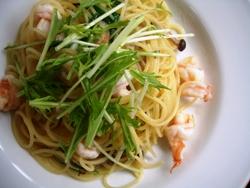 7/6本日のパスタ:海老と水菜のぺペロンチーノ_a0116684_1136550.jpg