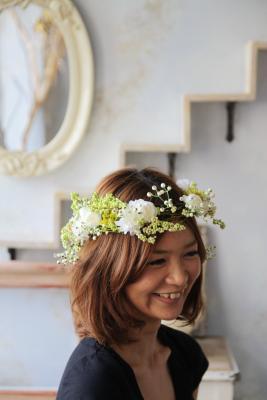 2011.7.11 実がいっぱいの白い花冠とリストレットと 花嫁さま_b0120777_2249267.jpg