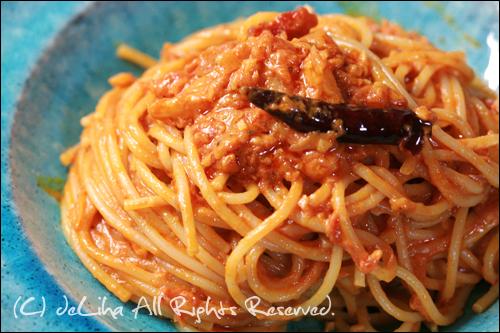 """カプリチョーザの""""トマトとニンニクのスパゲティ""""を作ってみた_c0131054_1521246.jpg"""