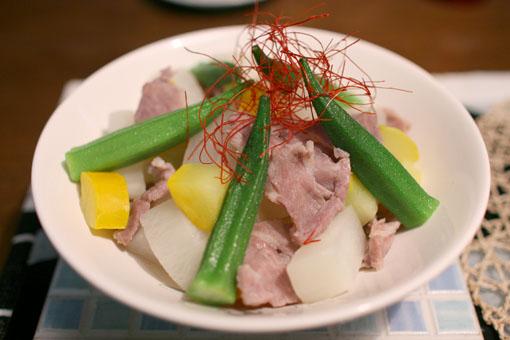 塩豚で夏野菜盛り_c0182144_2320836.jpg